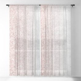 Blush Pink Sparkles on White and Gray Marble Sheer Curtain