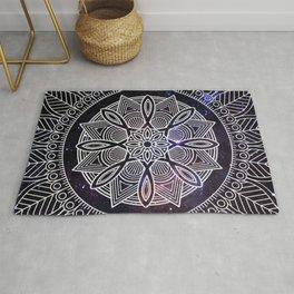 White Mandala On Galaxy Background Rug