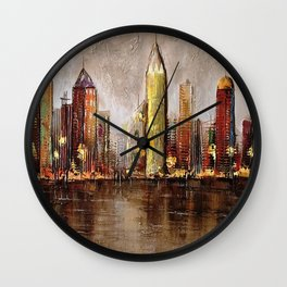 Skycrapers With Water View Wall Clock