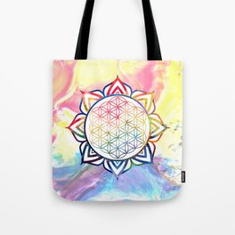 Rainbow Lotus Flower of Life Mandala Tote Bag