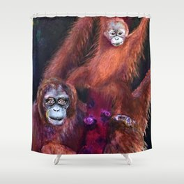 Patient Orangutan Mum and Her Naughty Child Shower Curtain