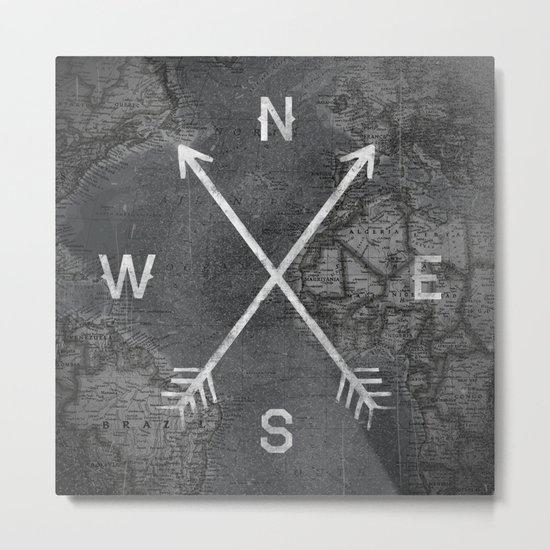 Compass (Map) Metal Print