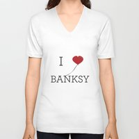 banksy V-neck T-shirts featuring I heart Banksy by Simple Symbol