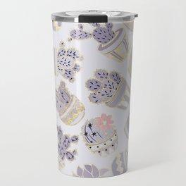 Elegant modern faux gold lavender pink cactus floral Travel Mug
