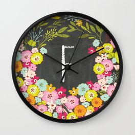 F botanical monogram. Letter initial with colorful flowers on a chalkboard background Wall Clock