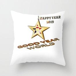 Happy year 2019,happy year world Throw Pillow