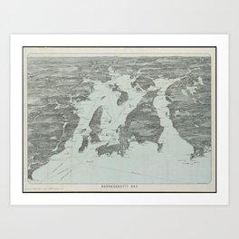 Vintage Pictorial Map of Narragansett Bay (1907) Art Print