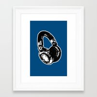 headphones Framed Art Prints featuring Headphones by Fig and Berry Clothing