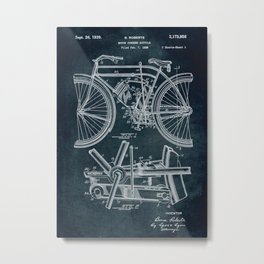1938 Motor powered bicycle Metal Print