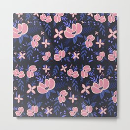 Pink Flowers Pattern 1 Metal Print