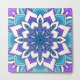 Purple Turquoise Blue Flower Mandala Metal Print