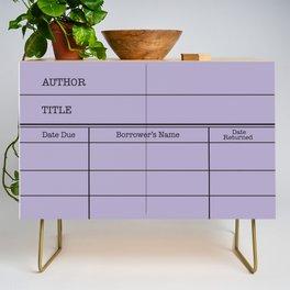 LiBRARY BOOK CARD (violet) Credenza