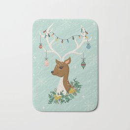 Vintage Inspired Deer with Decorations Bath Mat
