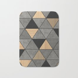 Concrete and Wood Triangles 2 Bath Mat