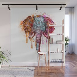 Watercolor Elephant Head Wall Mural