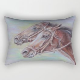 Horse Racing, Portrait of two brown horses, Pastel drawing on gray background Rectangular Pillow