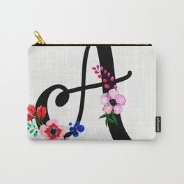 Letter A Watercolor Floral Background Carry-All Pouch