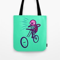 cycling Tote Bags featuring Cycling Disaster by Artistic Dyslexia