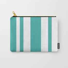 Mixed Vertical Stripes - White and Verdigris Carry-All Pouch