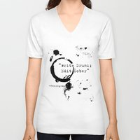 writing V-neck T-shirts featuring Hemingway Writing Quote by Novel Reveries