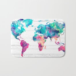 World Map Watercolor Paint on White Wood Bath Mat