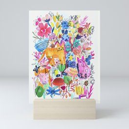 Orange and Pink Cats in Flower Garden Mini Art Print