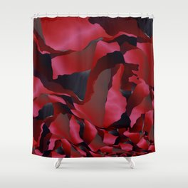 Red frayed abstraction Shower Curtain