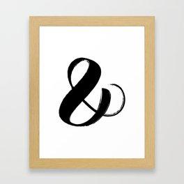 Abstract Ampersand sign Black, Brush stroke art Framed Art Print