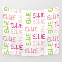 preppy Wall Tapestries featuring Name Square Color Splash Preppy Pink by Drape Studio