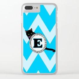 E Cat Chevron Monogram Clear iPhone Case