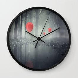 Red Balloons in a Forest Wall Clock