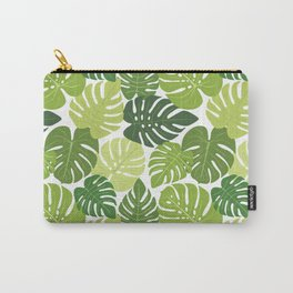 Monstera Leaves Pattern (white background) Carry-All Pouch