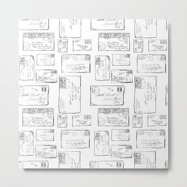 Vintage Envelopes Pattern Metal Print