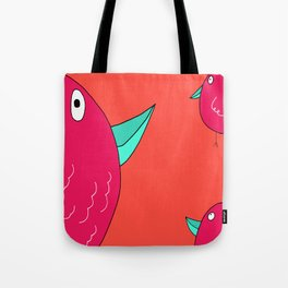 Colorful Pink and Orange Birds Tote Bag