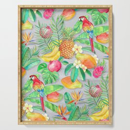 Tropical Paradise Fruit & Parrot Pattern Serving Tray