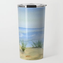 Dunes and Ocean Fine Art Watercolor painting Travel Mug