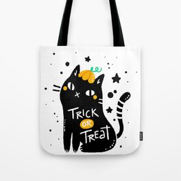 Black cat with halloween style Tote Bag