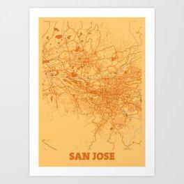San Jose - Califonia Sunset City Map Art Print