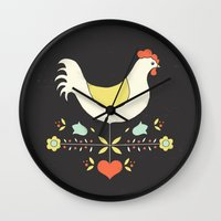 folk Wall Clocks featuring Folk Chicken by Jenny Tiffany