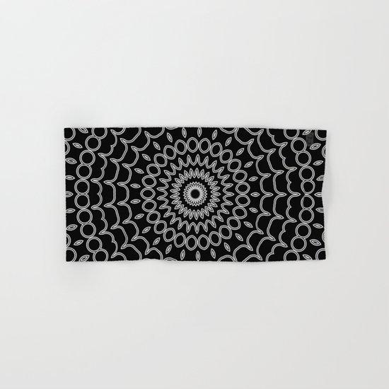 Mandala Fractal in Black and White Hand & Bath Towel