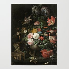 The Overturned Bouquet, Abraham Mignon, 1660 - 1679 Poster