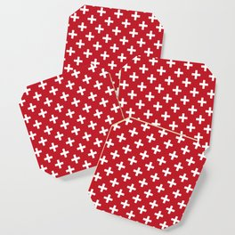 Criss Cross | Plus Sign | Red and White Coaster