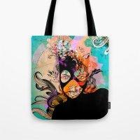 superheroes Tote Bags featuring Superheroes SF by Irmak Akcadogan
