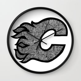 Ice Hockey team - Flames Wall Clock