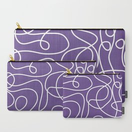 Doodle Line Art   White Lines on Ultra Violet Background Carry-All Pouch
