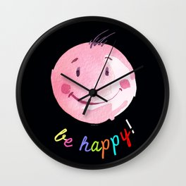 Be Happy - Smiling face - Watercolor and pixel Wall Clock