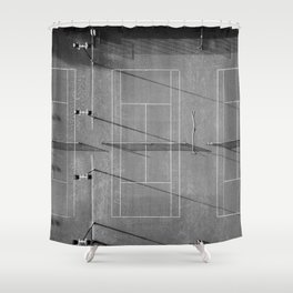 Grey tennis court at sunrise | black and white drone aerial photography art | sports field print Shower Curtain