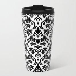 Flourish Damask Big Ptn Black on White Travel Mug