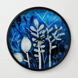 Secret Indigo Garden Wall Clock