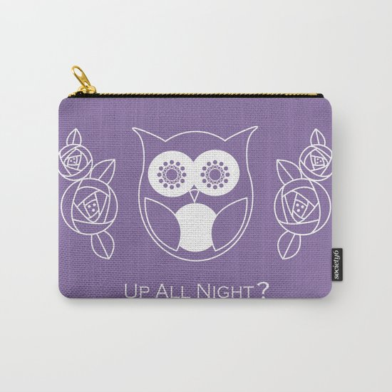 Up All Night? Cute Retro Owl and Roses Carry-All Pouch